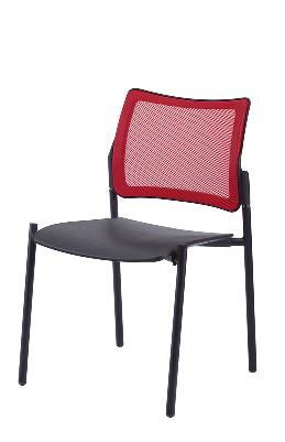 Gestell: Metall (Schwar) | Sitz: Kunststoff | Rücken: Stoff (Rot)