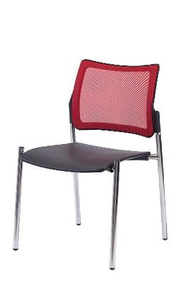 Gestell: Metall | Sitz: Kunstoff | Rücken: Stoff (Rot)
