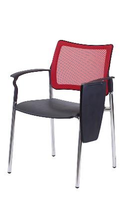 Gestell: Metall | Sitz / Armlehne: Kunststoff | Rücken: Stoff (Rot)