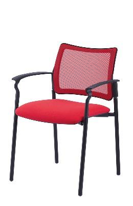 Gestell: Metall (Schwarz) | Bezug: Sonderbezug | Rücken: Stoff (Rot)