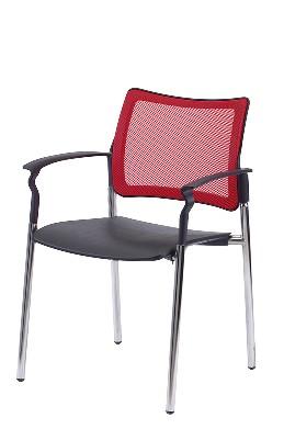 Gestell: Metall | Sitz / Armlehnen: Kunststoff | Rücken: Stoff (Rot)